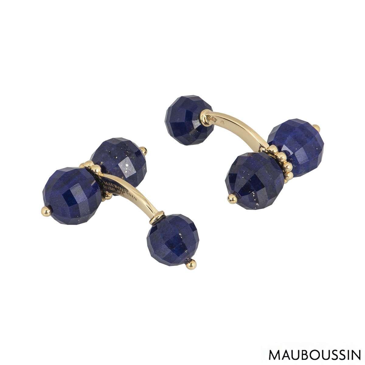 Mauboussin Yellow Gold Lapis Lazuli Cufflinks